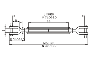 US Type Turnbuckle Fork And Fork Drawing